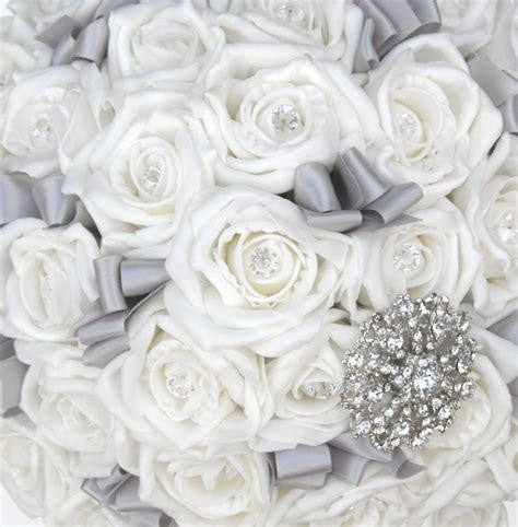 Brides Ivory Diamante Classic Rose & Silver Brooch Wedding