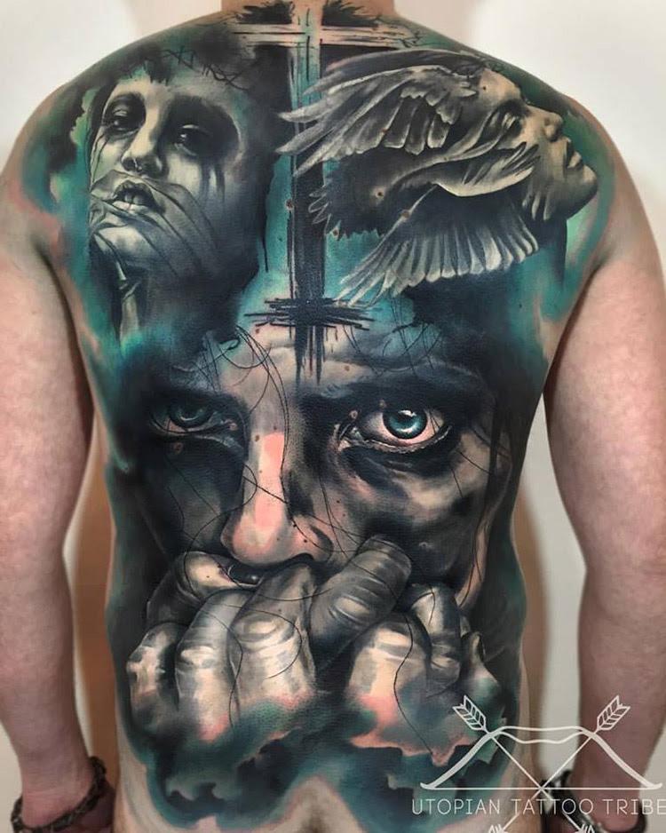Good Vs Evil Full Back Piece Best Tattoo Design Ideas