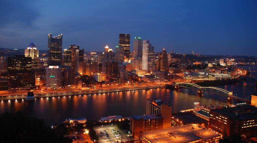 Pittsburgh Skyline Night Time View Of The Pittsburgh