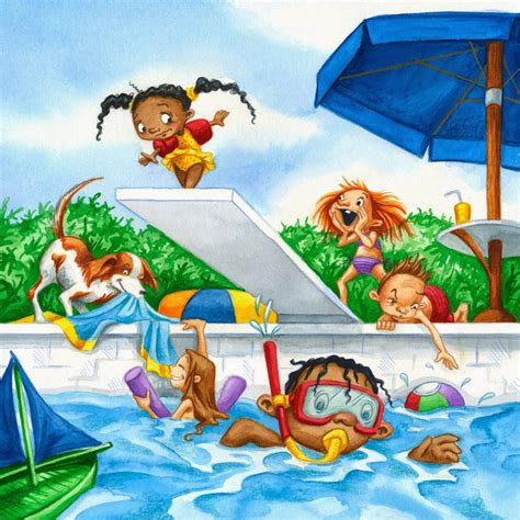 gambar berenang kartun lucu gambar  berenang