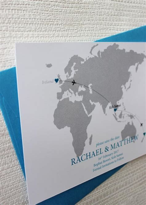 World Map Save the Date for a destination wedding   Be My