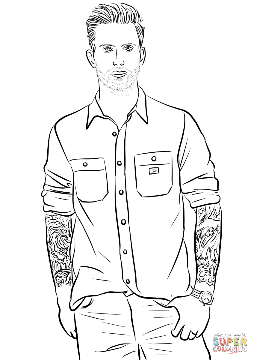 Adam Levine from Maroon 5 coloring page | Free Printable ...