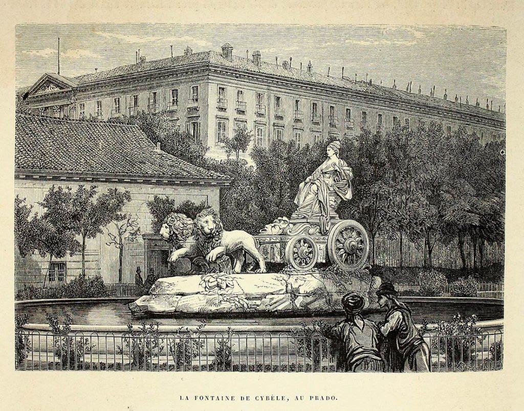 Fuente de Cibeles en su antiguo emplazamiento.