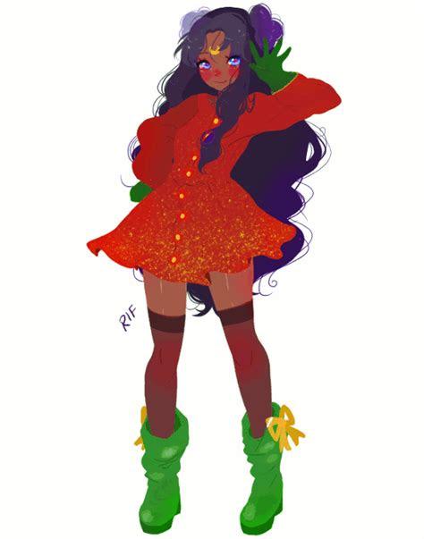 ready  christmas dark skin anime girl   art