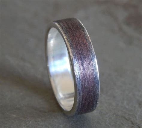RUSTIC TEXTURED Silver & Copper Wedding Band // Men's Or