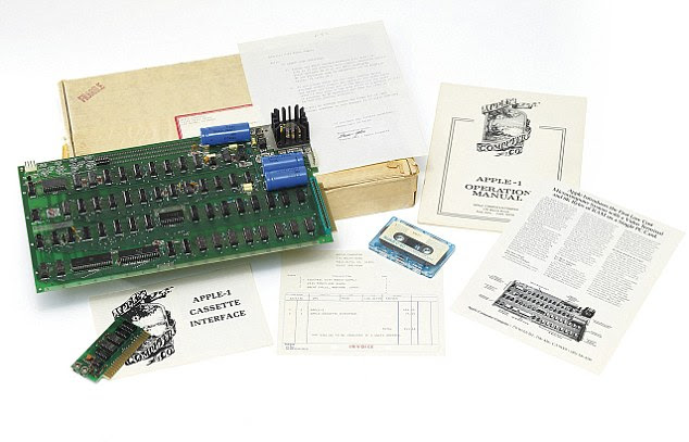 The Apple-1 had only 8k of memory and was sold by the Apple boss from his parents garage in California in 1976. The machine sold for $666 then - an early model sold recently for £133,000 at Christies in London