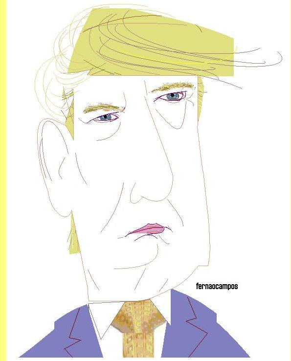 Donald Trump, cartoon de Fernão Campos