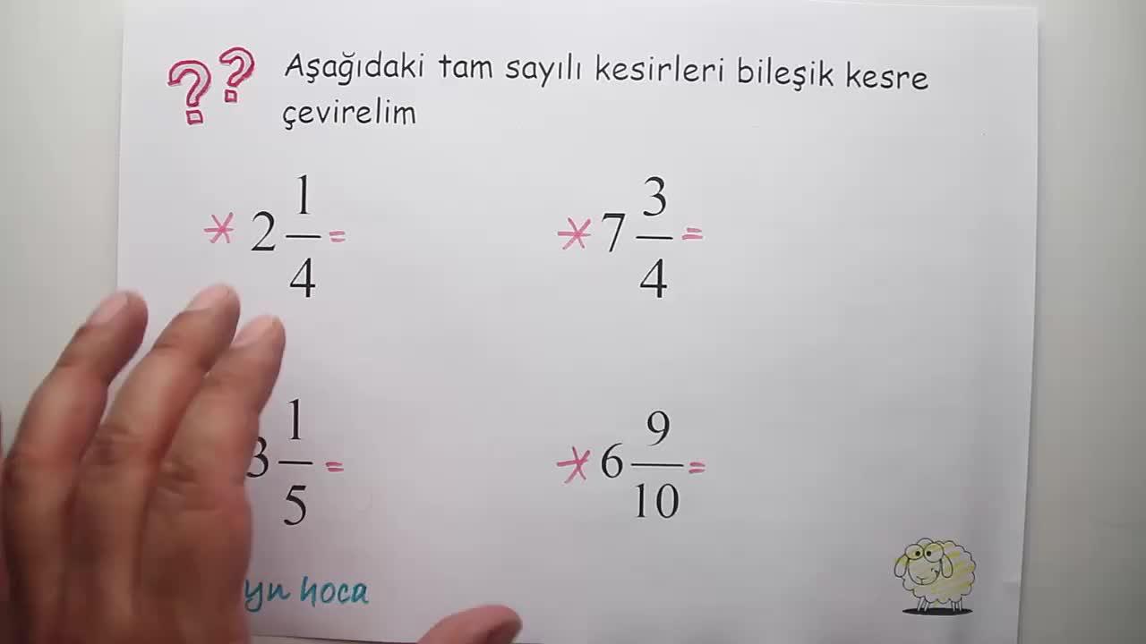 5 Sınıf Matematik Tam Sayili Kesir Ve Bileşik Kesri Birbirine