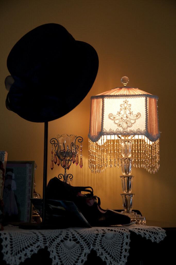vintage lamp shoes hat