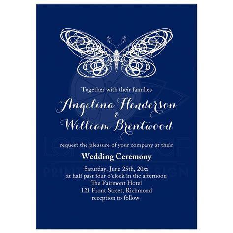 Wedding Invitation   Navy Blue Butterfly