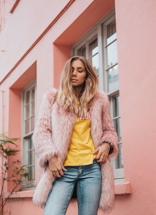 Le Fashion Blog Yellow Graphic T Shirt Pink Faux Fur Jacket Via Lisa Place