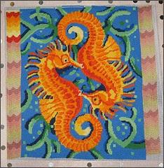 Seahorses needlepoint pillow top
