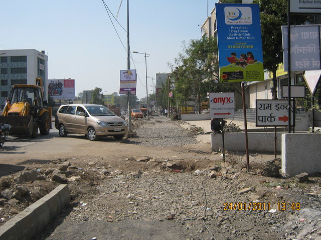 Now, Baner Road has a footpath!