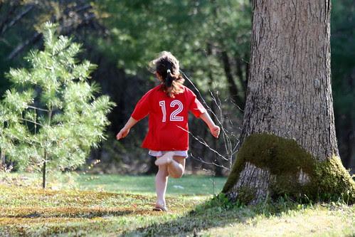 Dova runs through the yard