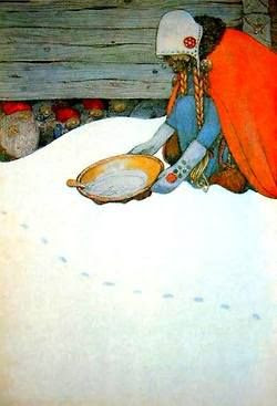 John Bauer (woman putting out porridge for the tomtar, swedish christmas tradition)
