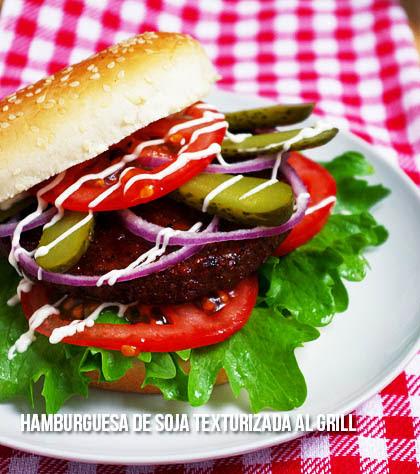 Hamburguesa de soja texturizada al grill