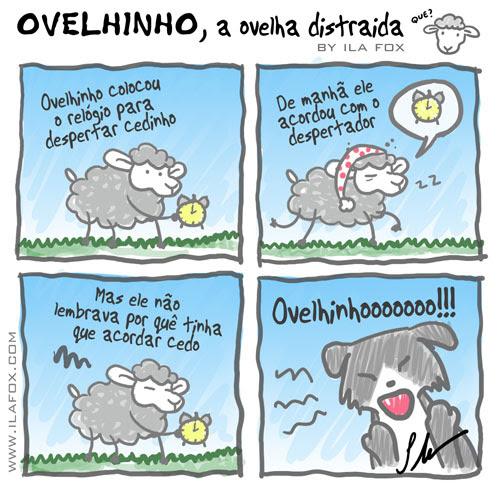 carneiro ovelha ovelhinho a ovelha distraída colocou o relógio para despertar, quadrinhos by Ila Fox
