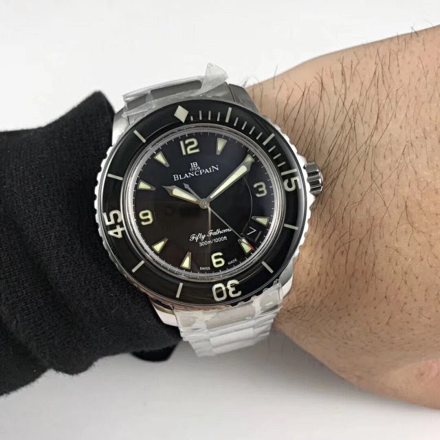 Blancpain Fifty Fathoms Stainless Steel Watch Wrist Shot