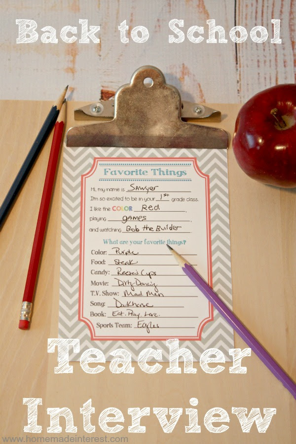 Back to School: Teacher Interview Free Printable {www.homemadeinterest.com}