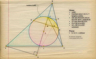 Sketch of Geometry Problem 1320: Triangle, Incircle, Tangent, Chord, Circle, Parallel, Perpendicular, Collinearity.