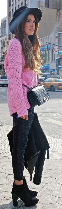 Zara Pink Fall shoulders Sweater by Negin Mirsalehi