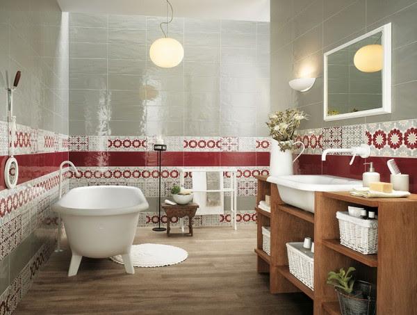 Red white bathroom border tiles