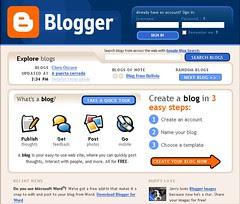 Blogger.com homepage, nice UI
