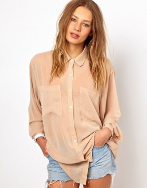Image 1 of American Apparel Chiffon Oversized Button Up Blouse