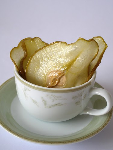 Vanilla ice cream with pear wafers