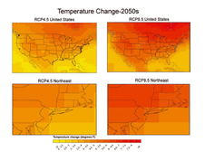 Map of annual temperature changes in the Northeast in 2050.