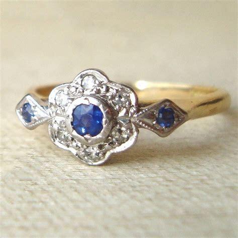 Art Deco Sapphire & Diamond Engagement Ring, Vintage