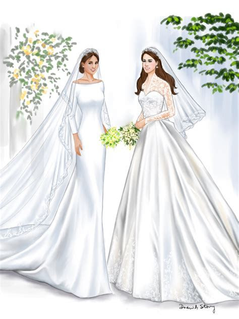 Meghan Markle and Kate Middleton in Wedding Dresses