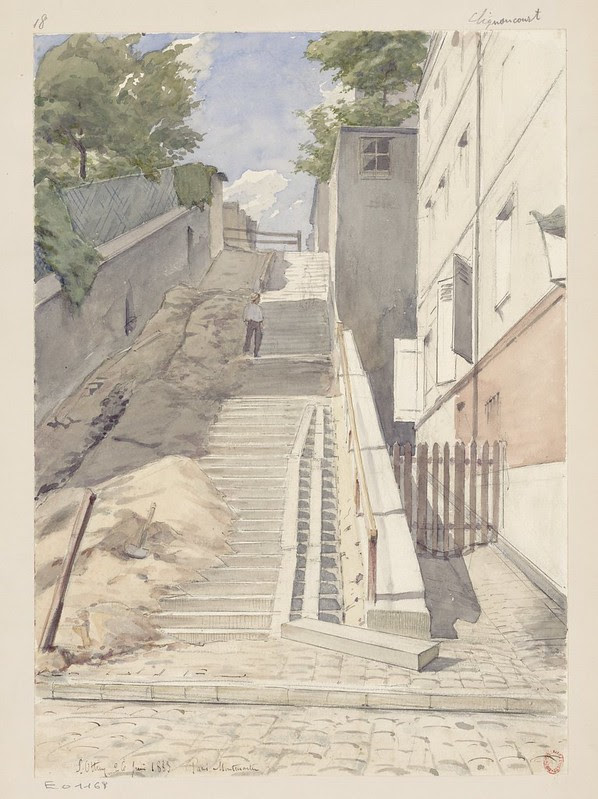 watercolour sketch looking up steep stairway next to buildings in Montmartre area of Victorian-era Paris