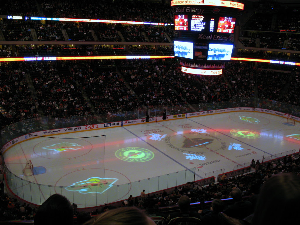 Intermission at the Xcel Energy Center.