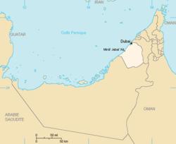 Localização de Dubai nos Emirados Árabes Unidos