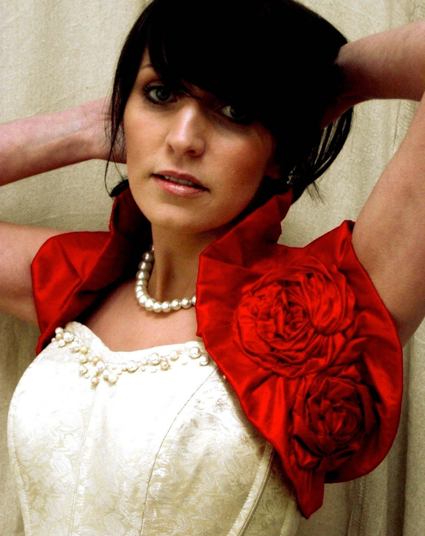 Rich Poppy Red Dupioni Raw Silk Wrap