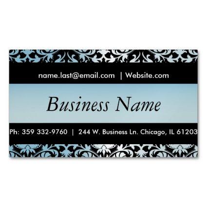 Elegant Black & Aqua Blue Damask Design Magnetic Business Cards (Pack Of 25)