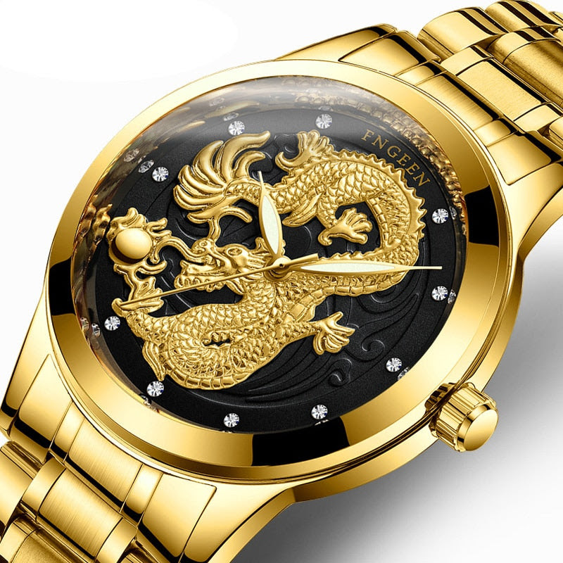 Reloj Dorado Para Caballero Dragón De La Suerte Im Comer Hogar