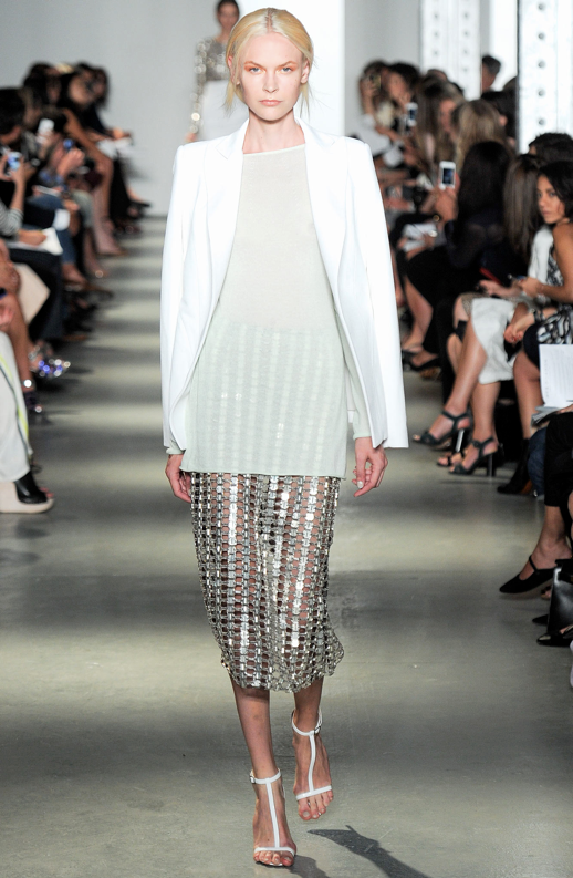 LE FASHION BLOG WES GORDON SS 2014 NYFW WHITE BLAZER SHEER TOP METALLIC SKIRT 5 photo LEFASHIONBLOGWESGORDONSS2014NYFWWHITEBLAZERSHEERTOPMETALLICSKIRT5.png