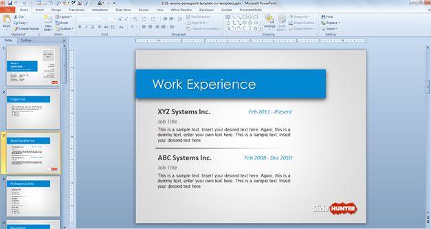 work experience resume cv powerpoint