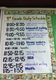 Daily 5 First Grade Schedule – Daily Planner