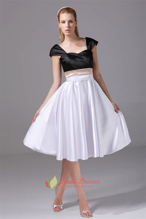 Knee Length Party Dress Black And White Cocktail Dress
