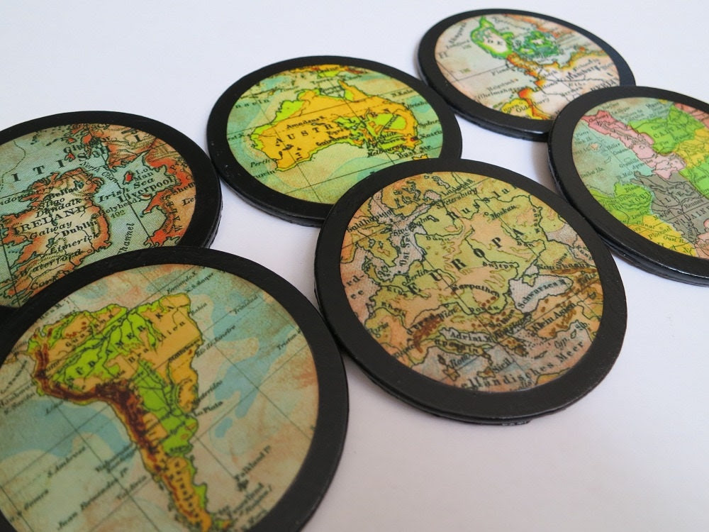 Decoupaged Coasters, Vintage Map, Round, Mod Podge, Set of Six, Distressed Aged Look, Handmade - RusticHomespun