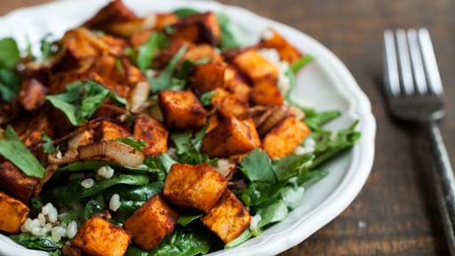 8 - Roasted Sweet Potato, Spinach, and Grain Salad2