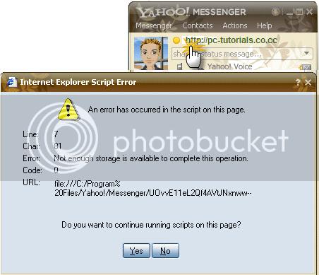 Yahoo messenger Internet Explorer Script Error Code: 0