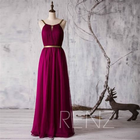 2015 Long Bridesmaid Dress, Red Wine Wedding Dress