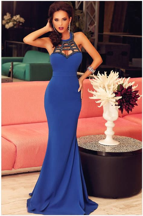 cheap women elegant blue mermaid style evening dresses