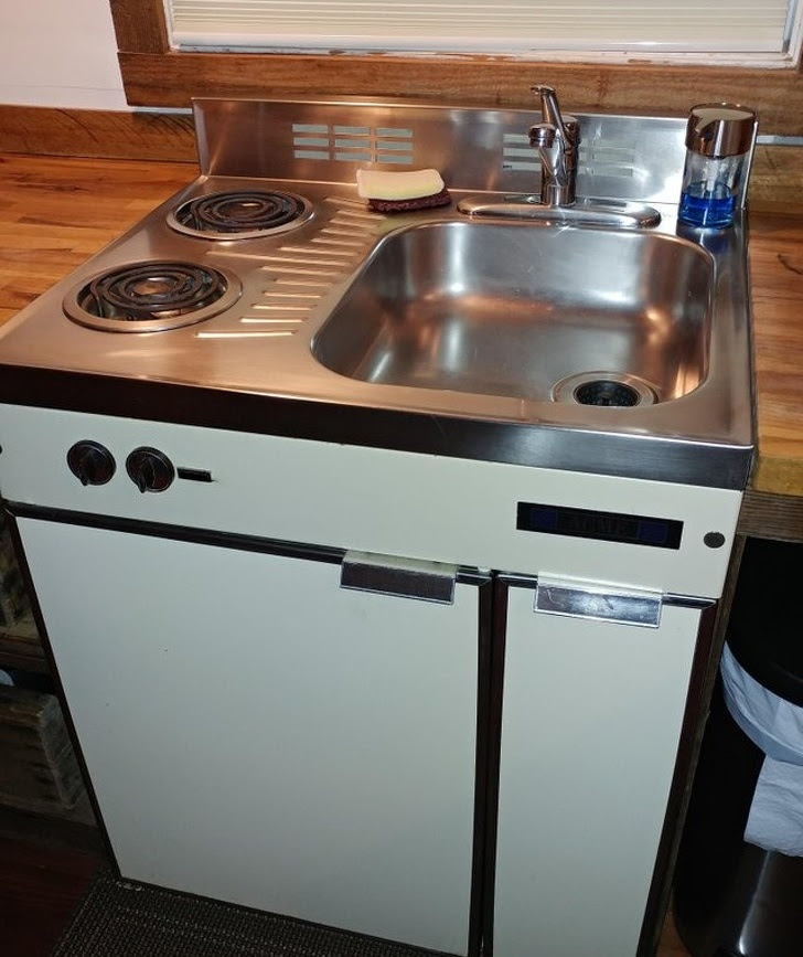 """4 - """"Sink/stove/fridge combo in the tiny house I'm renting"""""""