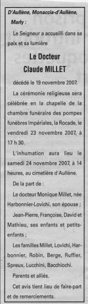 Décès Millet Claude