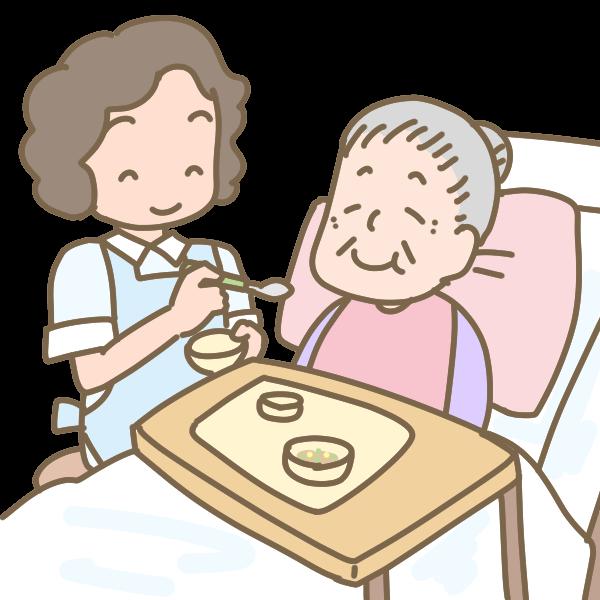 おばあさんの食事介助のイラスト かわいいフリー素材が無料のイラスト